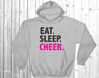 Eat Sleep Cheer, Cheer Hoodie, Cheer Sweatshirt, Cheerleader, Hooded Sweatshirt, cheerleading sweatshirt, Cheerleading, Cheer Clothing