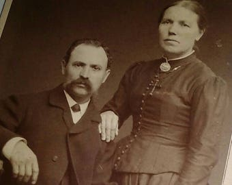 Handsome Pair Victorian Couple Portrait Cabinet Card