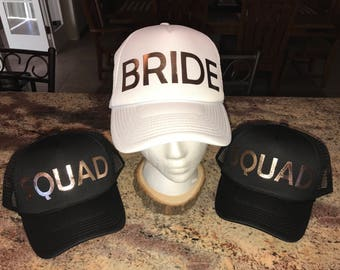 Custom Bride and Squad Trucker Hats-Bachelorette Party-Bachelorette Weekend-Bridal Party-Maid of Honor-Heat Transfer