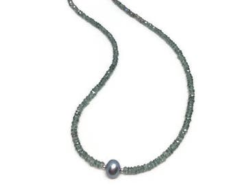 Quartz Necklace, Quartz Necklace with Crystal and Pearl, Quartz Necklace with focal Freshwater Pearl, Quartz Bead Necklce