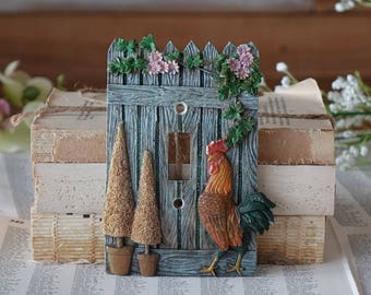 Vintage switch plate cover Electrical Resin rooster switch plate cover Cottage house