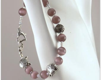 Purple cat eye and smiling Cat Head, hearts - 123 stones jewelry clasp bracelet