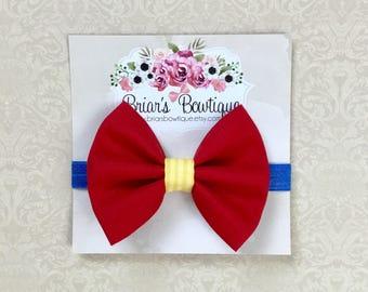 Snow White headband; red fabric bow headband; Disneyland headband; Snow White baby costume; Disney princess; baby, toddler, or girl