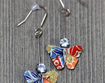 Origami butterflies Japanese paper earrings