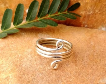 On Sale 925 Sterling Silver Coil Ring - Simple 925 Silver Ring - Gift for Her