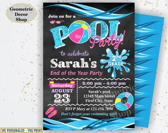 Graduation summer party Bash invitation end of the school year pool party invite chalkboard digital printable invitation Pink Girl Teal DP16
