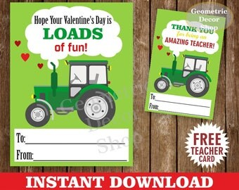 Instant Download / Tractor / Valentine Card / Valentines Card / Farm / Green / Valentine's Day / Tags / teacher / Kids / Classroom / VCard56