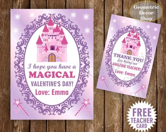 Princess Palace / Castle / Valentine Card / Valentines Card / Valentine's Day / Personalized / purple / pink / Tags teacher Kids VCard40