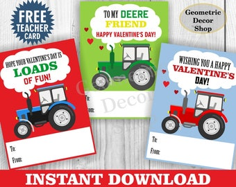 Instant Download / Tractor / Valentine / Card / Valentines / Farm / Green / red / blue / Valentine's Day / Tags / teacher / Kids / VCard82