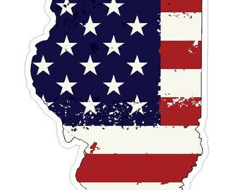 Illinois State (J14) USA Flag Distressed Vinyl Decal Sticker Car/Truck Laptop/Netbook Window