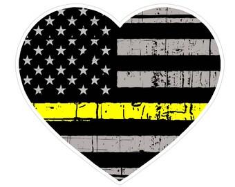 Heart Shape (E53) Thin Yellow Line Dispatch Vinyl Decal Sticker Love Car Laptop/Netbook Window