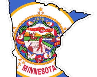 Minnesota State (Q24) Shape Flag Vinyl Decal Sticker Car/Truck Laptop/Netbook Window