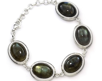 Labradorite Bracelet, 925 Sterling Silver, Unique only 1 piece available! , color green, weight 37.3g, #44899