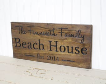 Beach House Custom Carved Last Name Sign Personalized Family Name Sign
