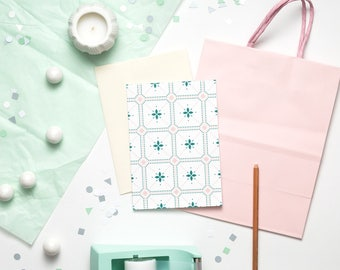 "Leitmotif Card | 5x7"" (A7) | Moroccan Tile, Backsplash, Pink, Pastels, Note Card, Stationery, Feminine, Baby Shower, Wedding, Card Set"