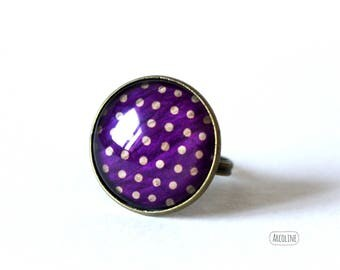 Ring cabochon 20 mm Retro ° ° purple polka dot Vintage