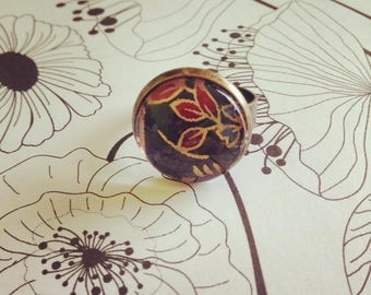 "Ring Bronze Red Leaf Pattern :  ""Aelia"" - Adjustable Ring, Washi paper,Flowery paper,Bronze jewel,Japanese,Romantic/Boho/Fantasy/Asian Style"