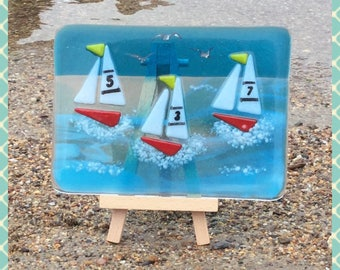 Fused Glass Picture, Fused Glass Plaque, Yachts, Sailing Boats by Minerva Hot Glass