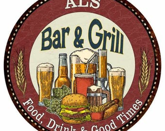 """Your Name Bar & Grill Red 14"""" Round Metal Sign Man Cave Home Wall Décor Pub Grill Ale Beer  R1400595"""