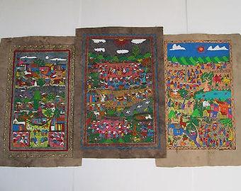 3 AMATE BARK PAINTING set native ethnic mexican folk art hand painted wholesale