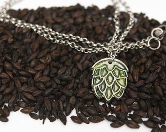Silver and Green Stylized Hop Pendant