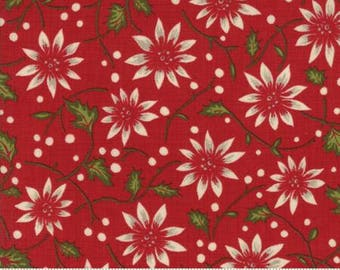 Nathalie Rouge - Petites Maisons De Noel - by French General for Moda Fabrics - Red - Floral 13791 11