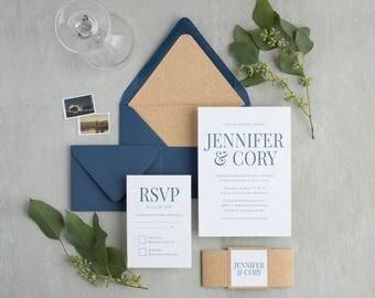 Affordable Wedding Invitation With Bold Script Blue Wedding