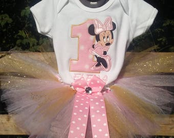 Pink and Gold Glitter Minnie Mouse 1st Birthday Outfit Onesie Tutu FREE Hair Bow Baby Girl Little Toddler