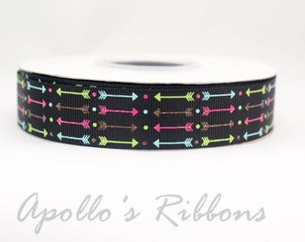 "Black Arrow ribbon - tribal ribbon - 7/8 inch wide - 7/8"" inch - US Designer ribbon - bow ribbon - ribbon - USDR - grosgrain ribbon - boho"