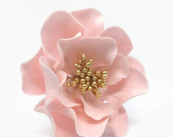 Pink or Blush Open Rose Sugar Flower with Gold Center for cake toppers, gumpaste flowers, wedding cakes, birthday cakes, diy cakes, fondant
