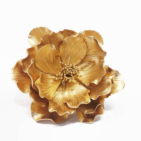 Gold Open Rose Sugar Flower for wedding cake toppers, birthday decorations, bridal showers, gumpaste flowers