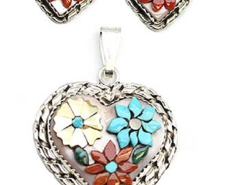 Sterling Silver Heart Inlay Set