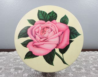 Vintage Mrs. Stevens Pink Rose Candy/Chocolate Round Tin - Green Leaves - Chicago