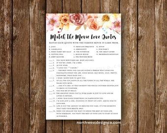 DIGITAL Fall Floral Match the Movie Love Quotes Game Bridal Shower Game Match the Love Quotes Pink Orange Printable Wedding Shower Game Card