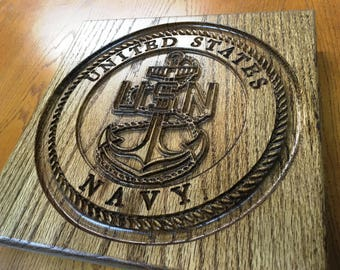 United States Navy Oak Wall Plaque by Iron Goose