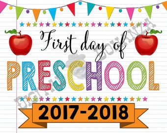 First Day of Preschool  Sign, Instant Download, First Day of School Color Notebook, Back To School, Notebook Sign DIY, Pre School, Printable