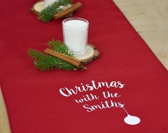 Sale Christmas With The…' Personalised Table Runner- Christmas Table Runner - Christmas Decoration - Christmas Table Decorations
