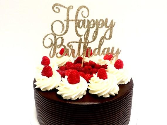 Champagne Glitter Script Happy Birthday Cake Topper Cursive Cake