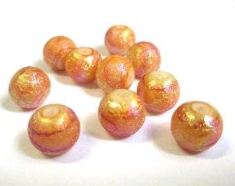 6 light brown beads shiny glass 10mm (O-22)