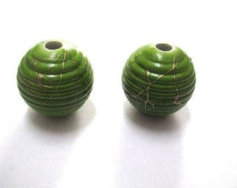 2 Gold, green acrylic beads 19mm