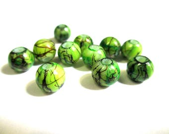 20 green beads, Brown painted glass 6mm (3)