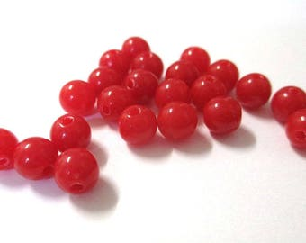 10 Red 6mm acrylic beads