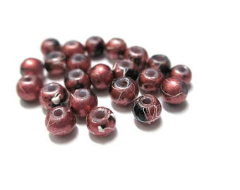 20 4mm bright red speckled and drawbench glass beads