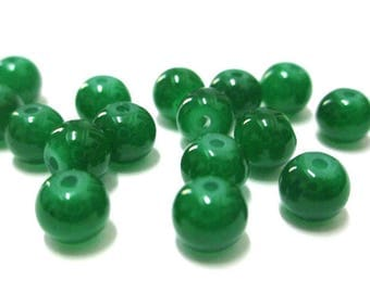 20 imitation jade glass 6mm (J-1) dark green beads