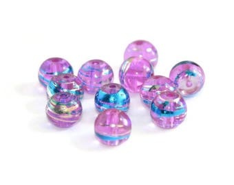 10 translucent pink, silver and blue glass beads 8mm