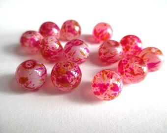 10 white painted beads speckled fuchsia and brown glass 8mm