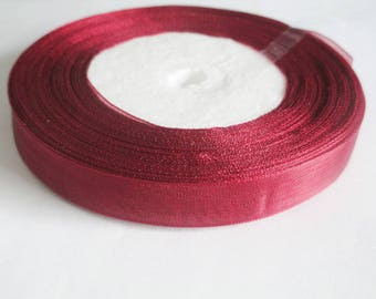 1 organza Ribbon Spool bordeaux 12mm to 45 meters