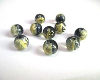 10 black, yellow translucent 8mm beads