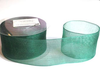 1 m 40mm dark green organza Ribbon