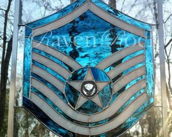 Air Force Stained Glass Service Stripes -ALL Rank- Military Retirement - Air Force Promotion - Engraving Included